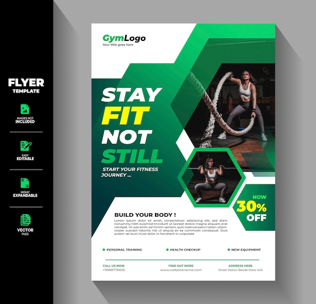 Siłownia fitness ulotka broszura ulotka szablon