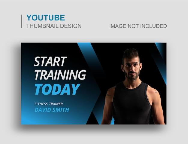 Siłownia fitness youtube miniatura i projekt banera internetowego