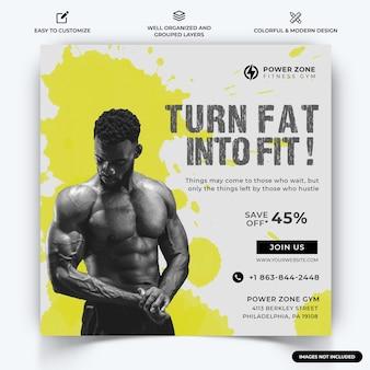 Siłownia i fitness instagram post szablon web banner wektor premium wektor