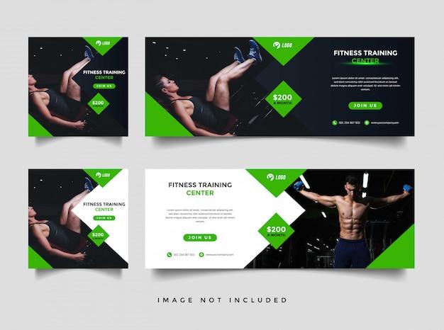 Siłownia i fitness media społecznościowe i szablon promocji banner