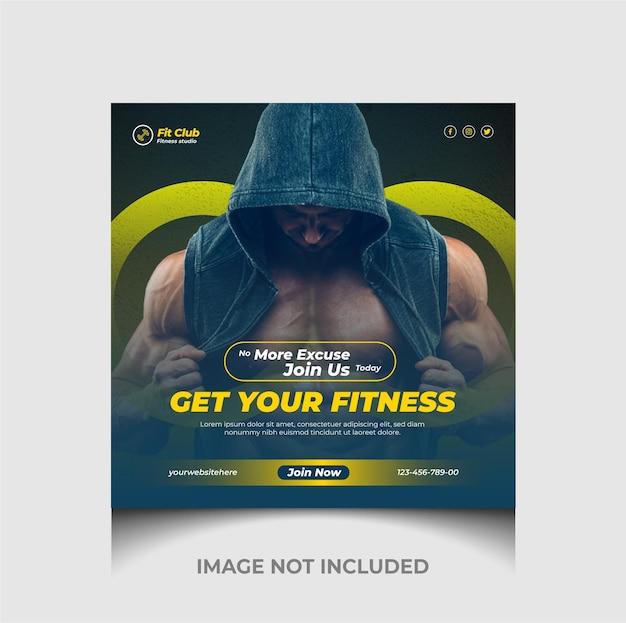 Siłownia i fitness post na instagramie i szablon banera internetowego promocji w mediach społecznościowych premium wektorów