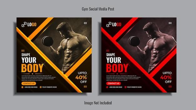 Siłownia i fitness social media post design pack z żółtymi i czerwonymi kształtami na ciemnym tle.