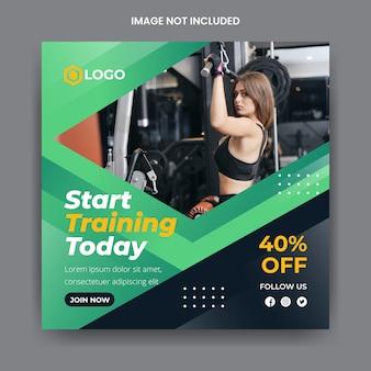 Siłownia i fitness szablon mediów społecznościowych banner instagram post