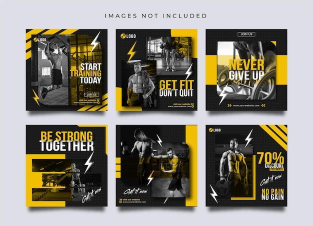 Siłownia i fitness w mediach społecznościowych oraz szablon postu lub banera na instagramie