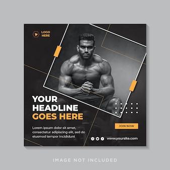 Siłownia i fitness w mediach społecznościowych post banner lub kwadratowy szablon ulotki