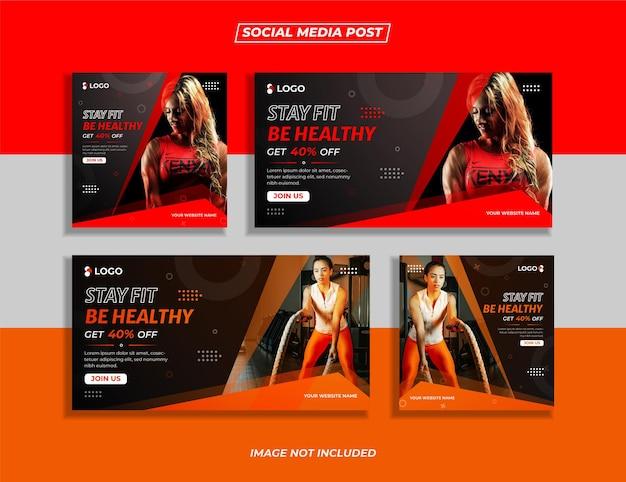 Siłownia i fitness zestaw banerów postu w mediach społecznościowych