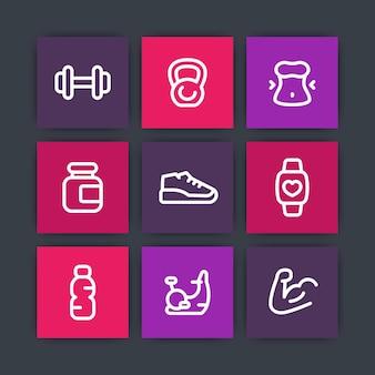 Siłownia, ikony treningu fitness, piktogramy linii