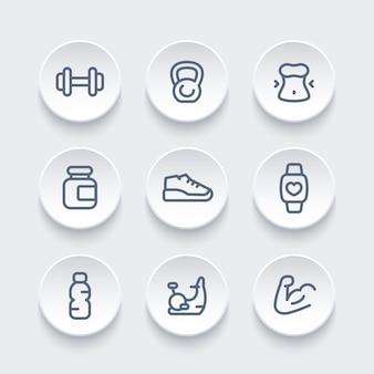 Siłownia, pakiet ikon treningu fitness, okrągłe piktogramy, ilustracja wektorowa