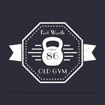 Siłownia, vintage logo klubu fitness, godło, projekt koszulki, nadruk, z grunge, ilustracja wektorowa