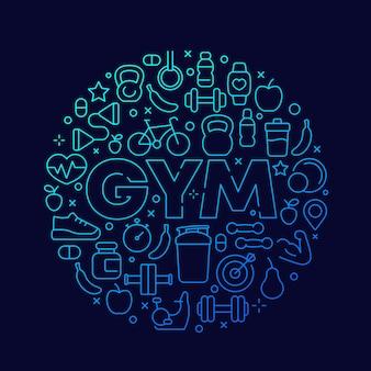 Siłownia wektor okrągły projekt z linii fitness ikony