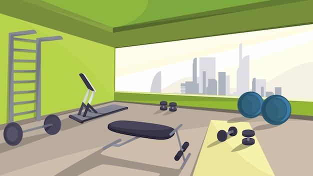 Siłownia ze sprzętem fitness