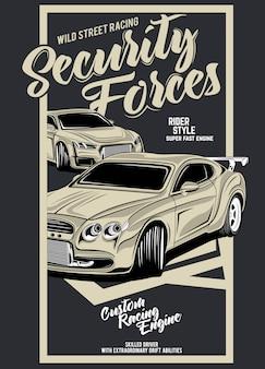 Siły bezpieczeństwa, ilustracja klasyczny samochód wyścigowy