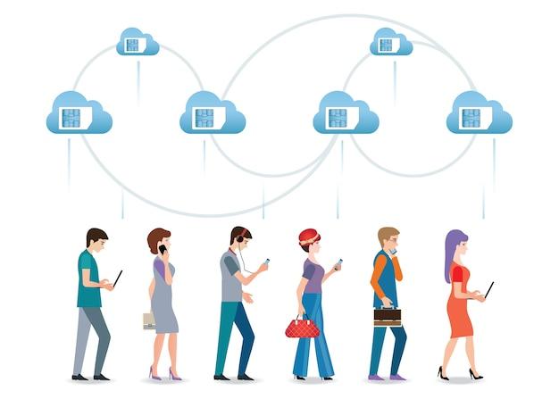 Sim karta w błękitnej chmurze z ludźmi używa smartphone.