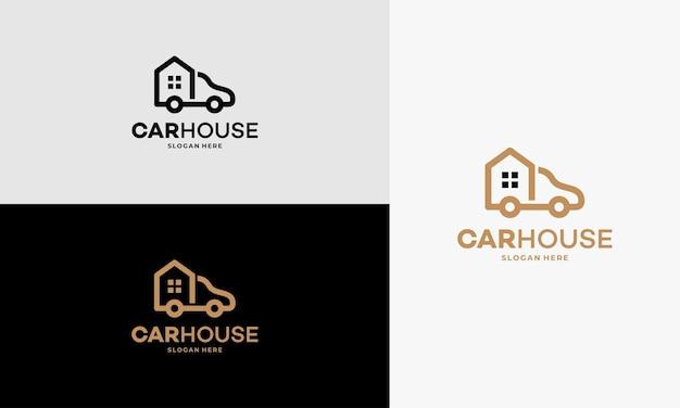 Simple car house garage logo projektuje wektor koncepcyjny, zarys domu moving truck logo szablon wektor projektu, godło, koncepcja projektu