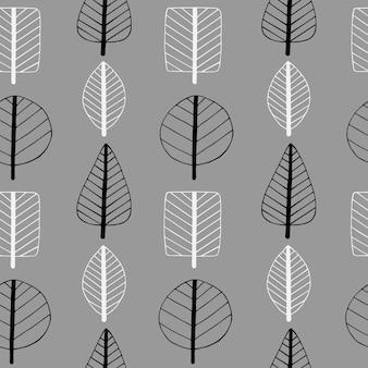 Simple doodle pozostawia bezszwowe stylizowane liście w stylu skandynawskim