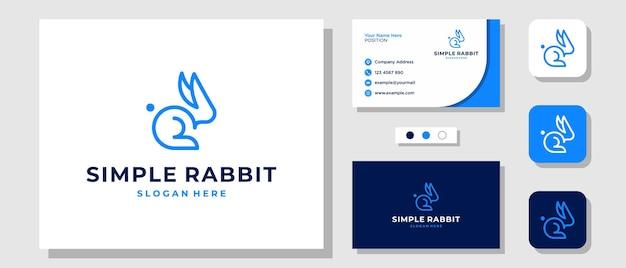 Simple line art rabbit bunny szybki nowoczesny projekt logo z szablonem układu wizytówka