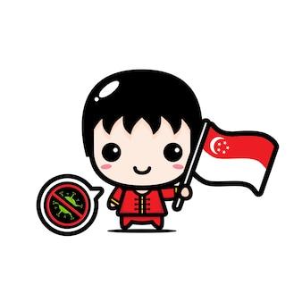 Singapur chłopiec z flagą przeciwko wirusowi