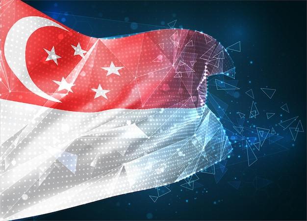 Singapur, flaga wektorowa, wirtualny abstrakcyjny obiekt 3d z trójkątnych wielokątów na niebieskim tle