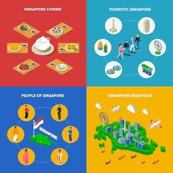 Singapur podróże izometryczne elementy i postacie