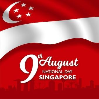 Singapur święto narodowe transparent z flagą singapuru macha.
