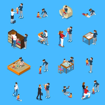 Sitter baby isometric people