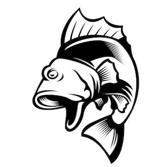 Skacząc duże usta bas maskotka logo ryby