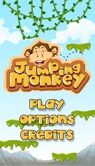 Skacząca małpa zaczyna się od głównego szablonu