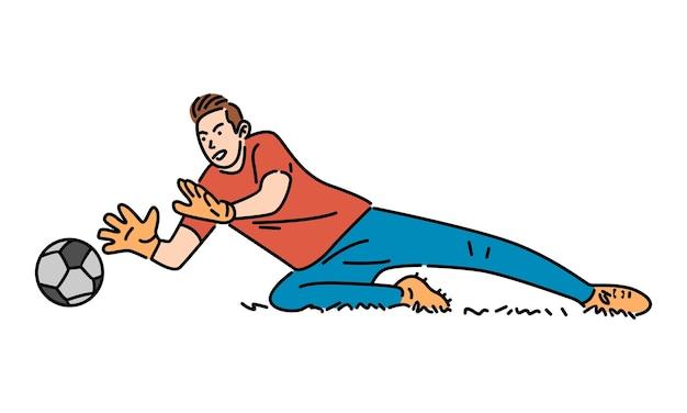 Skaczący bramkarz łapie piłkę