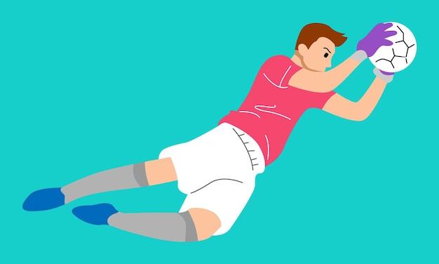 Skaczący bramkarz piłki nożnej łapie piłkę