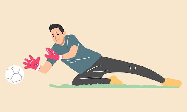 Skaczący Bramkarz Piłki Nożnej łapie Piłkę Premium Wektorów