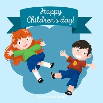 Skaczący dzieci dzień tło dla dzieci