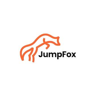 Skaczący lis linia zarys monoline sztuki logo wektor ikona ilustracja