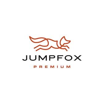 Skaczący lis szybka brązowa linia zarys monoline logo wektor ikona ilustracja