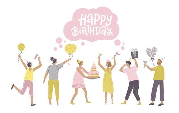 Skaczący ludzie z balonami z prezentami i tańczącymi tortami urodzinowymi mężczyzn i kobiet