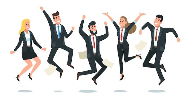Skaczący zespół biznesowy. urzędnicy skaczą, szczęśliwi korporacyjni koledzy skaczą wpólnie i pracy zespołowej zabawy kreskówki ilustracja