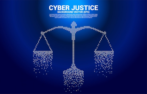 Skala sprawiedliwości w stylu cyfrowym z kwadratowymi pikselami. pojęcie cybernetycznego osądu