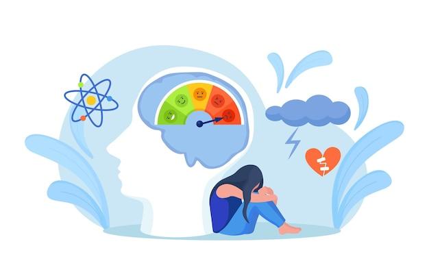Skala ze strzałką od czerwieni do zieleni oraz skala emocji, nastrój w głowie. frustracja i stres, przeciążenie emocjonalne, wypalenie, przepracowanie, depresja. obrotomierz, prędkościomierz, znak wskaźników.