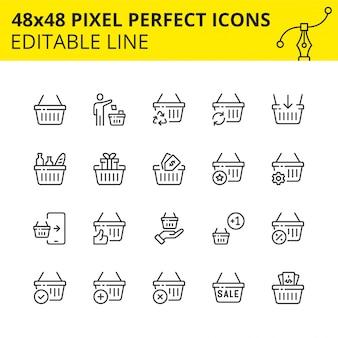 Skalowane ikony koszyka na zakupy w handlu