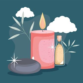 Skały spa i ikony leczenia świec