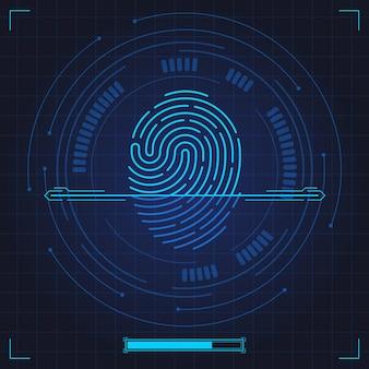 Skan linii papilarnych. biometryczna identyfikacja odcisków palców, uwierzytelnianie linii kciuków w systemie bezpieczeństwa. cyfrowy skan linii papilarnych