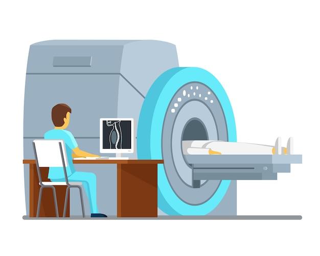 Skan mri i diagnostyka. koncepcja wektor zdrowia i opieki. diagnostyczny pacjent z rezonansem magnetycznym, szpital mri, technologia skanowania mri. ilustracji wektorowych