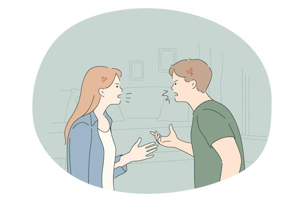 Skandal, kłótnie, koncepcja walki. młoda para zły stoi i krzyczy na siebie