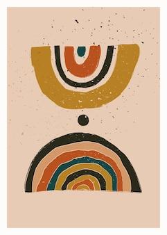Skandynawska abstrakcyjna geometryczna kompozycja do dekoracji ścian w naturalnych kolorach ziemi