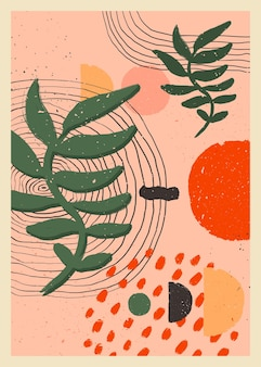 Skandynawska abstrakcyjna kompozycja organiczna w brzoskwiniowo-różowych kolorach do dekoracji ścian