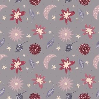 Skandynawska fantazja kwiatowy wzór bez szwu śliczne gryzmoły kwiaty pozostawiawektor niekończąca się tekstura