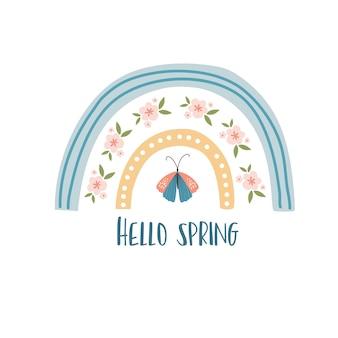 Skandynawska karta wiosenna boho z wiosennymi kwiatami, kwitnącymi gałązkami, ptakami i motylami. dobry na plakat, kartę, zaproszenie, ulotkę, baner, afisz, broszurę. ilustracja wektorowa.