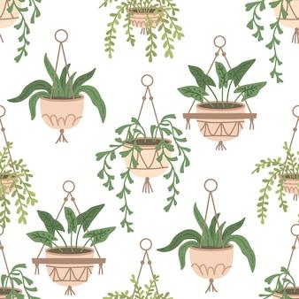 Skandynawska makrama roślina bez szwu wzór wystrój wnętrza domu w stylu boho