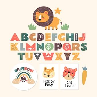 Skandynawski alfabet i ładny fantasy clipart kolorowa kolekcja na białym tle element