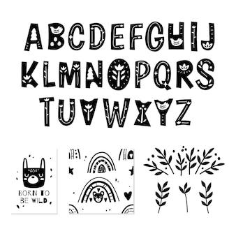Skandynawski alfabet i urocza kolekcja