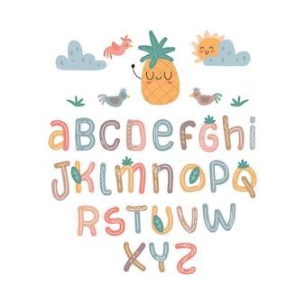 Skandynawski alfabet zestaw urocza fantazja i kliparty kolorowa kolekcja na białym tle el